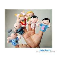 Free Shipping 6Pcs  Baby Girls Boys Kids Infants Newborn Toddlers Children Family Member Puppet Plush Finger Toys Doll Cartoon