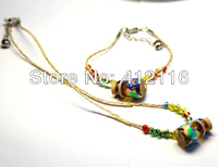 Wholesale Free Shipping Handemade Colorful Wishing Bottle Shamballa Bracelets & Necklace Set Kids Jewelry