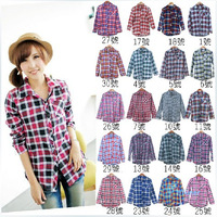 Twenty-Colors Plaid Lapel Concise Autumn Personality Slim Young Plaid Temperament Blouse Women Shirt