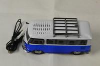 30pcs per lot USB Mini Speaker car/bus shape TF Micro Music Player FM Radio portable sound box black,blue,green,red Mp3 speaker