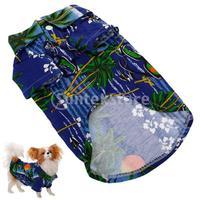 Free Shipping Hawaiian Print Dog Shirt Summer Camp Shirt Clothes Apparel - Deep Blue