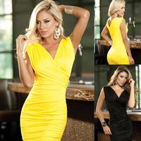 ML17632 Cheap Fashion Women Deep V Neck Bandage Dress Yellow Black Cotton Sexy Ruffled Mini Short Clubwear Dresses
