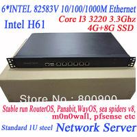 Core I3-3220 3.3Ghz 6* INTEL 82583V 1000M 1U server H61 wayos ros soft route  ITX-WH61SL hirouters m0n0wall pfsense