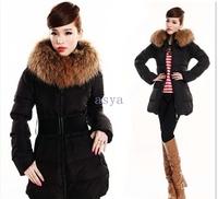 2014 Winter women medium-long fur collar warm down coat,Ms plus-size thickening of down jacket,Big size fashion duck down jacket