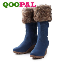 Free Shipping Winter 2013 Fashion High-Heeled Boots Ladies Leisure Tall Canister Boots Slope With Boots XZ1002