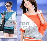 B068 New Arrival Women's Korean Color Block 2013 Summer Batwing Short Sleeve Sexy Casual Loose Tops Tshirts Tees Free Shipping