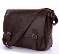 Free Shipping Genuine Vintage Leather Brown  Men'S Briefcase Messenger Bag Cross Body Purse #7022LB