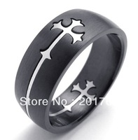 fashion punk rock Stainless steel hollow out cross men ring free shipping 73767