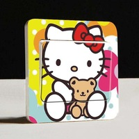 Hot Sale 10Pcs Kitty Cat Lovely Creative Home Decoration Switch Sticker 9*9cm on-off Sticker / Wall Swith Label Wholesale