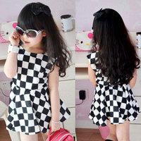 Free Shipping 2014 Girls Fashion Trendy Korean Chiffon Mini Dresses Elegance Pleated Vest Dress GD069
