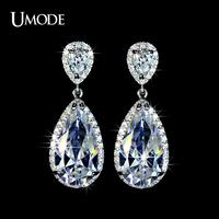 UMODE Elegant Teardrop Shape Swiss Cubic Zirconia Diamond Bridal Earrings UE0034