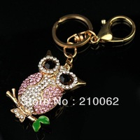 Free shipping pink rhinestone Owl Keychain IMG_6976 Ladies Bag Key Ring Charm  (mixed order)
