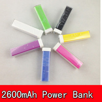 Hot sale 100pcs 2600mAh Lipstick Power Bank Universal Portable Emergency Charger for iPhone 5S/HTC/Samsung Free Fedex