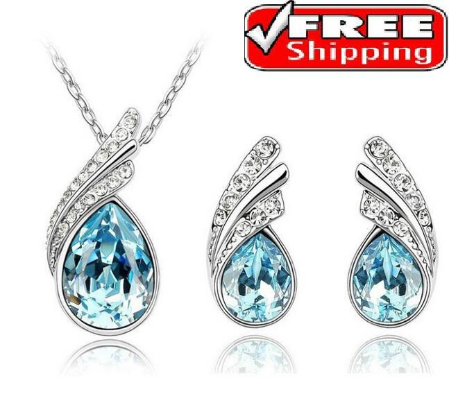 2014 New Trend Jewelry Fashion Angel's Tear Pendant Necklace Stud Earring Fashion Crystal Water Drop For Women Jewelry Sets(China (Mainland))