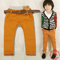 Free shipping 2014 New arrival kids pure cotton CASUAL pants kid autumn trousers bib overall candy color pencil pants retail