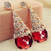 Red Korean shining crystal bride/wedding dress long earrings high grade party earring free shipping