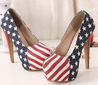 Best selling HOT USA flag high heel shoes, sexy platform pumps, dress shoes EUR size 35-39