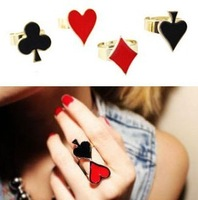 Mini $6 mixed order jewelry wholesale Adjustable  fashionable modelling of poker metallic finger ring