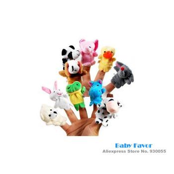 Free Shipping 10Pcs Baby Boys Girls Kids Children Infants Newborn Soft Cute Cartoon Animal Plush Puppet Finger Toys Cheap