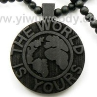 hip hop Fashion Jewelry good wood rosary beaded The World Is Yours pendants necklaces for men for women