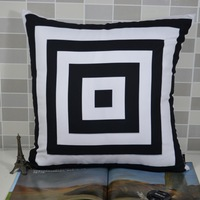 45*45 cm Vintage Decorative Back and White Geometric Throw Pillowcase Cushion Pillow Covers for Bed Sofa