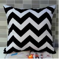 45*45 cm Home Decorative European Ikea Black White Chevron Zigzag Wave Digital Printing Throw Pillow Case Cushion Cover