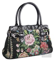 Handmade new rich peony beaded embroidered fabric handbag  Freeshipping