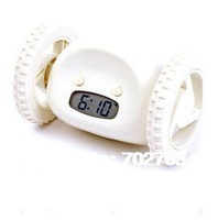 free shipping running away digital alarm clock with LCD display hide and seek white novelty gift