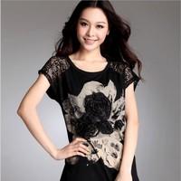Free shipping women clothing new 2014 summer women plus size short sleeve lace print t shirts woman casual t shirt tops tee