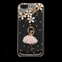 Hot New Fashion 3D Ballet Girl Bling Case Cover for Iphone 4 4s 5g with Free Gift Box