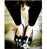 FREE SHIPPING 2013 women girls shoes mj personality cut the cat dog velvet flat comfortable flats shoes,3 kinds.special price