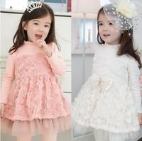 Free shipping 5pc/lot spring&autumn Rose flower Long sleeve Girl's dress / dresses, Children 's flower dress pink,white