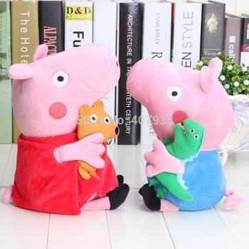 1Set 12'' 30CM,10'' 25CM  Peppa Pig With Teddy Bear George Pig  With Dinosaur Free Shipping Brand New Plush