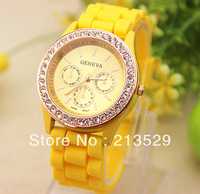 Free shipping  11 colors fashion Geneva crystal Silicone watch ladies quartz watch