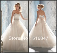 2013 Hot sale New Fashion Long White/ivory Tulle Beading A-Line Sweetheart Bridal Gown Wedding Dresses Custom Size Free Shipping