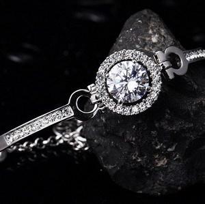 'Hearts & Arrows' perfect cut 3.5 carat Swiss Cubic Zircon Diamond Bracelet ( Niceter N8049) Fashion Bangles Free Shipping