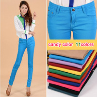 [E.P] Knitting Free shipping 2013 new fashion Slim Elastic jeans Candy color pencil pants trousers Sexy women HOT SAEL 11 colors