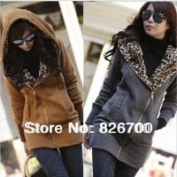 Casual Style Woman Lady Long Sleeve High Neck Fleece Hoodie Sweatshirt Fleece Jacket wholesale free shipping # J0038