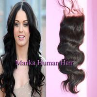 "4""x4"" body wave Lace closure  top closures pieces unprocessed virgin Brazilian hair natural color"