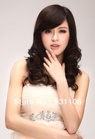 Only a dream poem hand-woven real hair wig temperament full Ms. oblique bangs long hair fluffy wig repair face 3002,