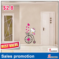 Cheapest Hello kitty wall sticker,kids room wall decoration,PVC cartoon wall paper,hello kitty fans favorites.E9013