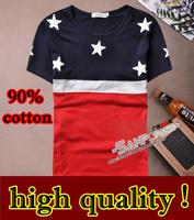 2013 hot new fashion Men's T-Shirts clothing o-neck t shirt cotton men stripe free shipping t-shirt for men good quality