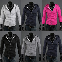 2013 Autumn New Mens Casual Fashion Slim Fit Coat Zip Up Designer Hoddies Mens Warm Clothing Outwear Black Grey Red M~XXL