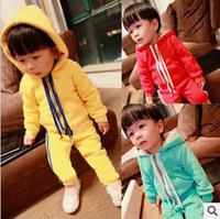 2013 Free Shipping HOT SALE Kids' Winter 0.85KGS Super Thicken Fleece Long Sleeve Sports Hoody Jacket+ Pants LCB1001