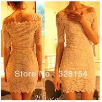 free shipping top fashion  women's  Off Shoulder short sleeve Slash neck mini tight sexy lace dress  black white colors