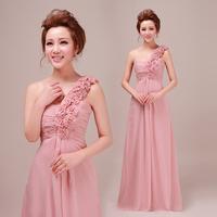 Free Shipping 2014 Latest Designs  Elegant  A-line  Floor-length Wedding Party Flower Long Evening Dress