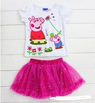 Hot Selling baby girls clothing sets kids peppa pig clothing fashion carton t shirts+skirt Suits for kids Drop Shipping 1-5Yrs