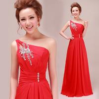 Free Shipping 2014 Latest Designs Prom Long Chiffon One Shoulder Diamond Decoration Evening Dress Woman's Party Dress