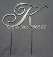 50% discounts Buy one get one free (2pcs per lot) 2.7''(7cm) Metal party decor wedding monogram cake topper HOT SELLING RCE07-2K