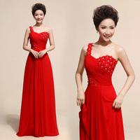 Free Shipping New Arrival 2014 Fashion Elegant One Shoulder Chiffon Long Design Evening Dress